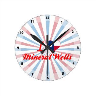 I Love Mineral Wells, Texas Round Wallclocks