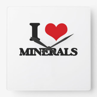 I Love Minerals Square Wallclocks