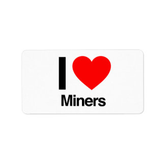 i love miners personalized address label