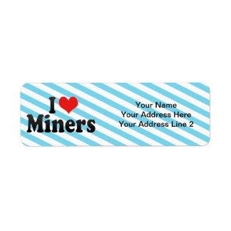 I Love Miners Custom Return Address Label