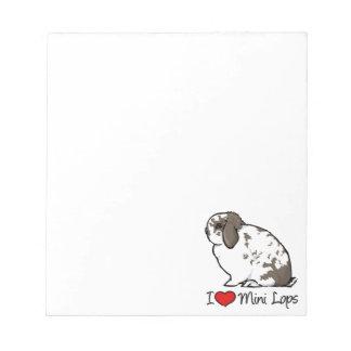 I Love Mini Lop Rabbits Notepads