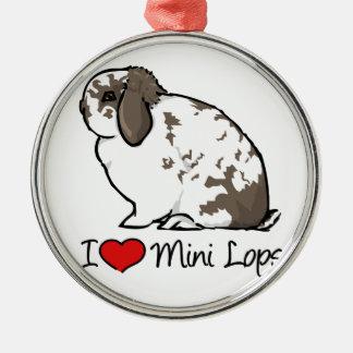 I Love Mini Lop Rabbits Round Metal Christmas Ornament