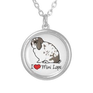 I Love Mini Lop Rabbits Round Pendant Necklace