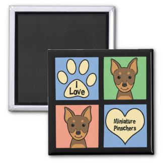 I Love Miniature Pinschers 2 Inch Square Magnet