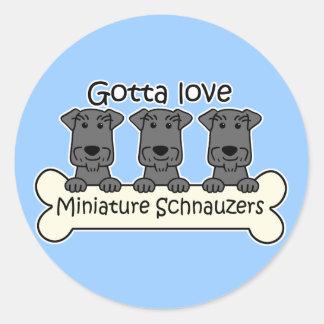 I Love Miniature Schnauzers Classic Round Sticker