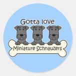 I Love Miniature Schnauzers Stickers