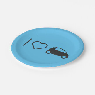 I Love Minicars 7 Inch Paper Plate