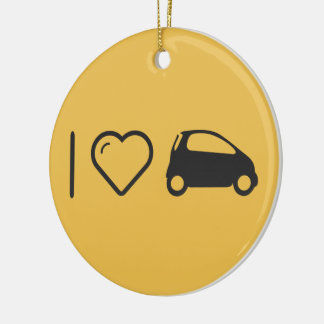 I Love Minicars Double-Sided Ceramic Round Christmas Ornament