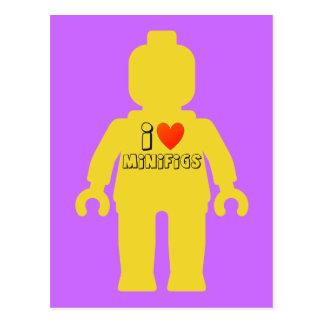 I Love Minifigs by Customize My Minifig Postcard