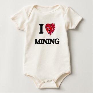 I Love Mining Baby Bodysuits