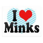 I Love Minks Postcard