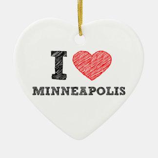 I-Love-Minneapolis Ceramic Ornament