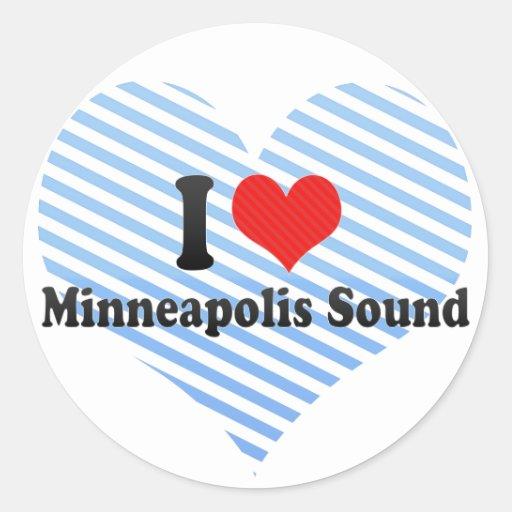 I Love Minneapolis Sound Round Stickers