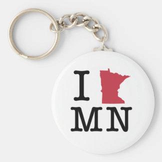 I Love Minnesota Basic Round Button Keychain