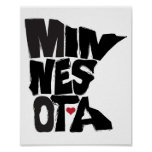 I Love Minnesota State Map Art Print