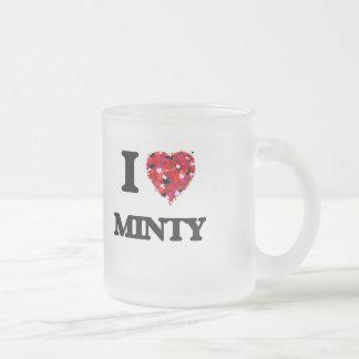 I Love Minty 10 Oz Frosted Glass Coffee Mug