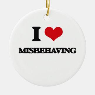 I Love Misbehaving Double-Sided Ceramic Round Christmas Ornament