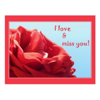 I love & miss you postcard