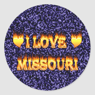 I love missouri fire and flames round stickers