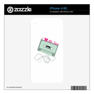 I Love Mix Tapes Decal For iPhone 4S