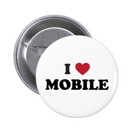 I Love Mobile Alabama Pinback Buttons