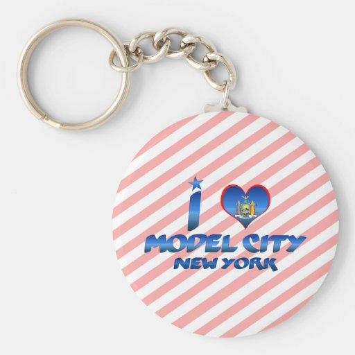 I love Model City, New York Basic Round Button Keychain