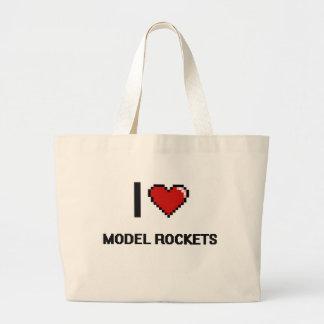 I Love Model Rockets Digital Retro Design Jumbo Tote Bag