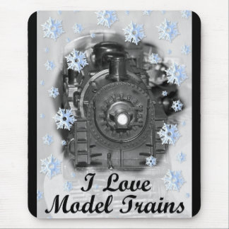 I Love Model Trains Mouse Pad