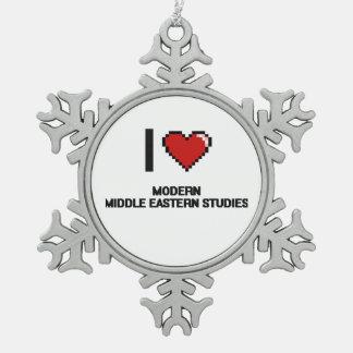 I Love Modern Middle Eastern Studies Digital Desig Snowflake Pewter Christmas Ornament