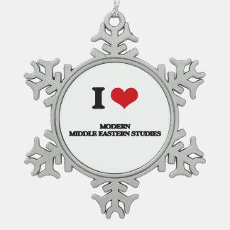 I Love Modern Middle Eastern Studies Snowflake Pewter Christmas Ornament