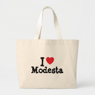 I love Modesta heart T-Shirt Canvas Bags