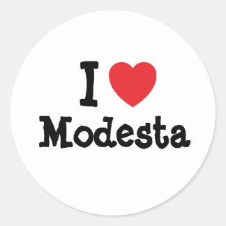 I love Modesta heart T-Shirt Classic Round Sticker