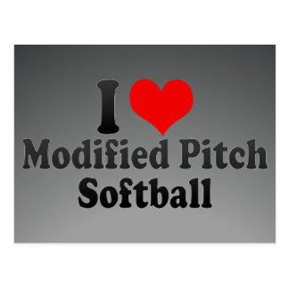 I love Modified Pitch Softball Postcard