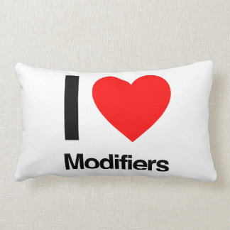 i love modifiers throw pillows