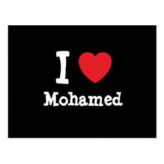 I love Mohamed heart custom personalized Post Cards