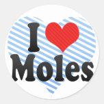 I Love Moles Classic Round Sticker