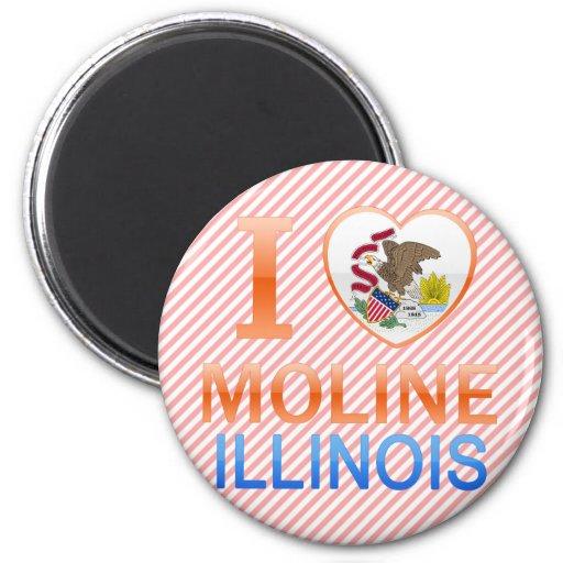 I Love Moline, IL Refrigerator Magnets