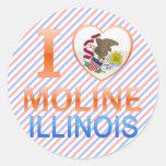 I Love Moline, IL Round Sticker