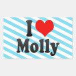 I love Molly Rectangular Sticker