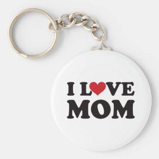 I Love Mom Basic Round Button Keychain