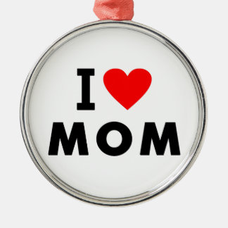i love mom heart mommy text message mother symbol metal ornament