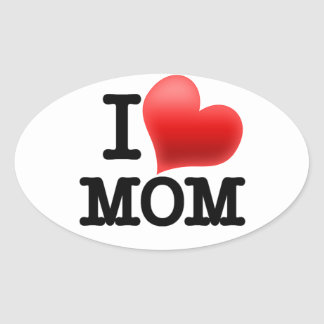 I Love Mom Oval Sticker