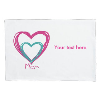 """ I love mom"" Single Pillowcase, Standard Size Pillowcase"