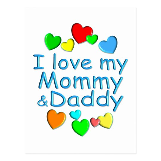I Love Mommy & Daddy Postcard