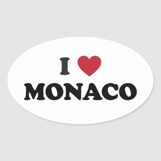 I Love Monaco Oval Sticker