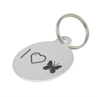 I Love Monarch Butterflies Pet Name Tag