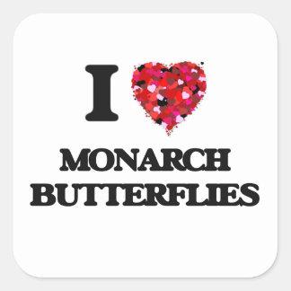 I love Monarch Butterflies Square Sticker