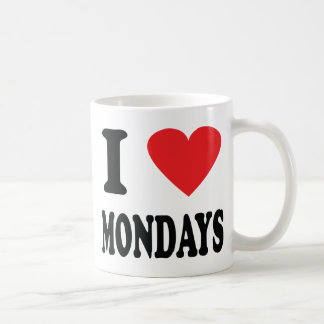 I love mondays icon classic white coffee mug