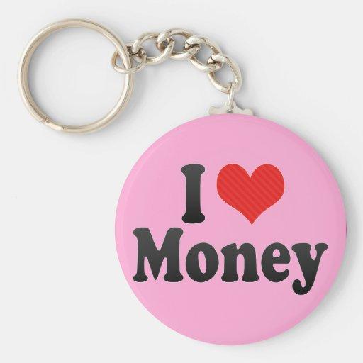 I Love Money Basic Round Button Keychain