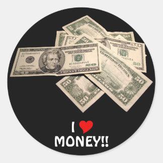 I Love Money Classic Round Sticker
